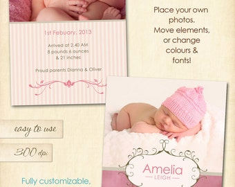 INSTANT DOWNLOAD - Amelia - Birth announcement template