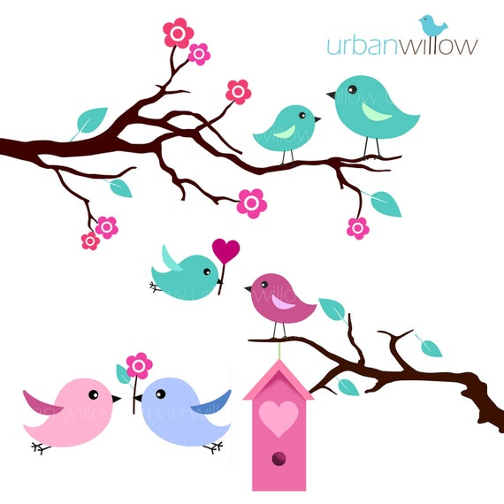 MINT LOVE BIRDS - Clip art set in Jpeg & Png files.