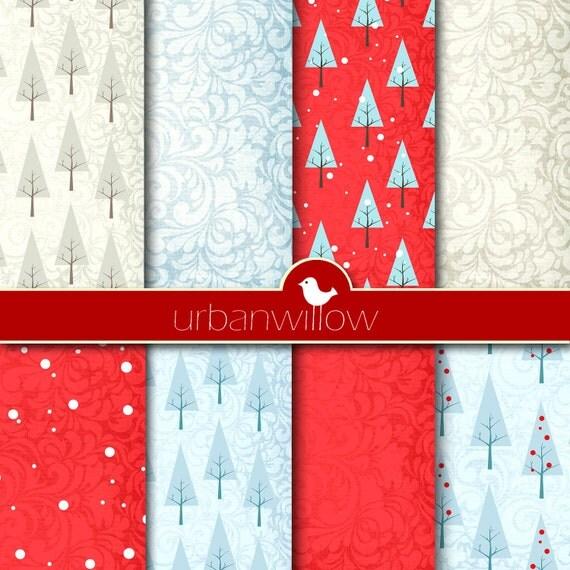 "TEXTURED Christmas scrapbook papers - Digital 12"" x 12"" paper set/ digital backgrounds."