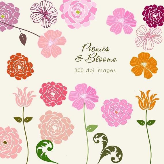 PEONIES & Blooms - 19 piece clip art set. Jpeg and Png files.