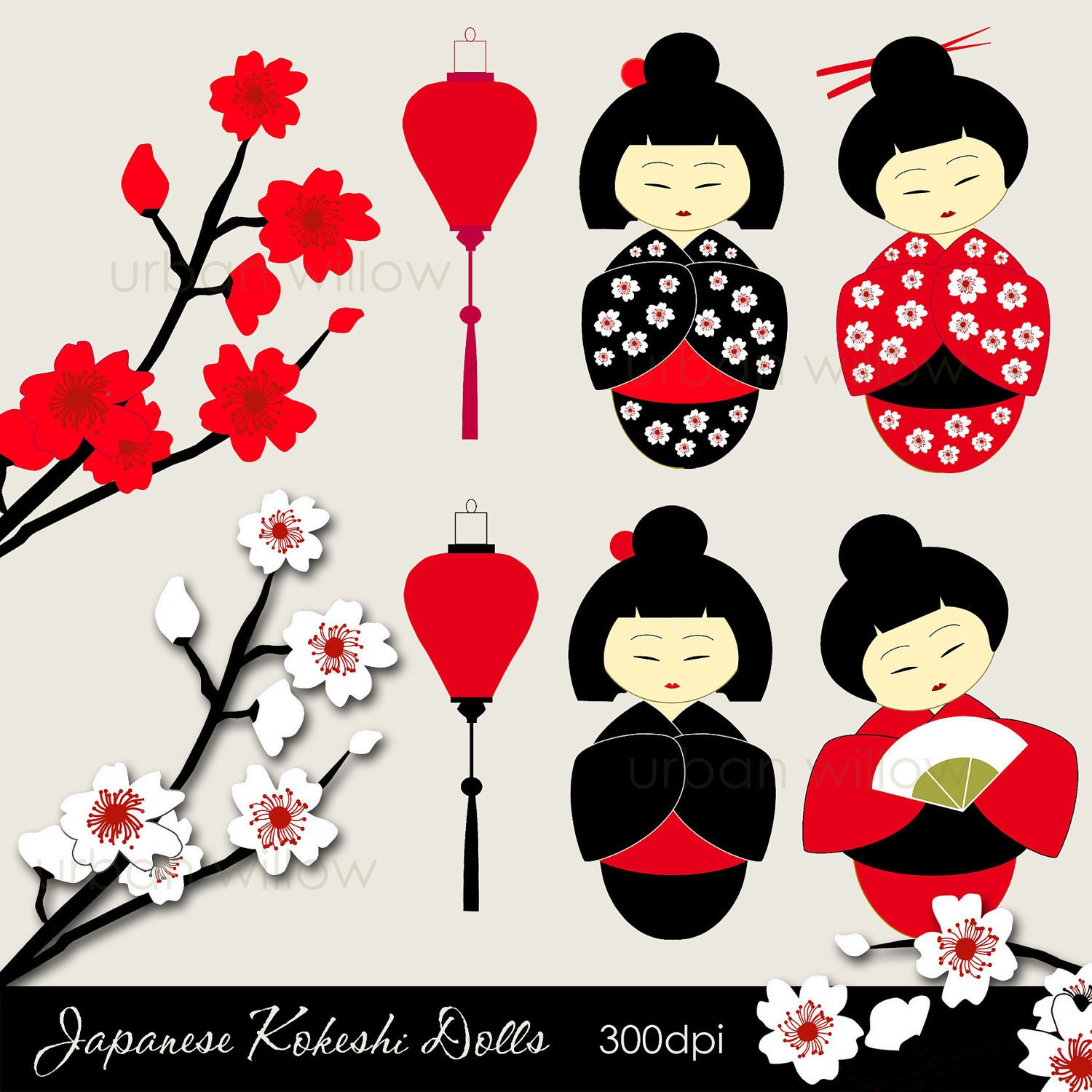 KOKESHI Dolls. Japanese dolls clip art set in Png & by UrbanWillow