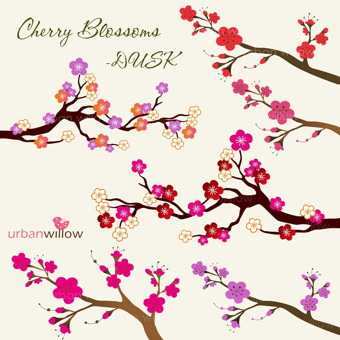 INSTANT DOWNLOAD CHERRY Blossoms Dusk. Png