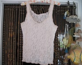 Lacy Halter Tank Top in Pale Peach, Large