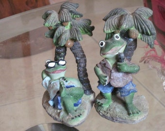 80's Pair of Fun Ceramic Frog Figurals, Vintage - TREASURY ITEM