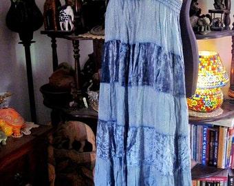 Gypsy Tiered Skirt / Strapless Dress in Silky Viscose & Soft Velvet, Vintage - Medium to Large