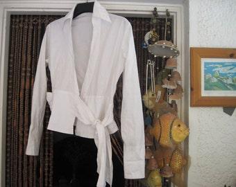 White Cotton Wrap Blouse Embroidered in White - Medium