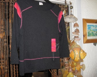 80's Studded Ballerina - Cerise Patches - Charcoal Gray Top, Large