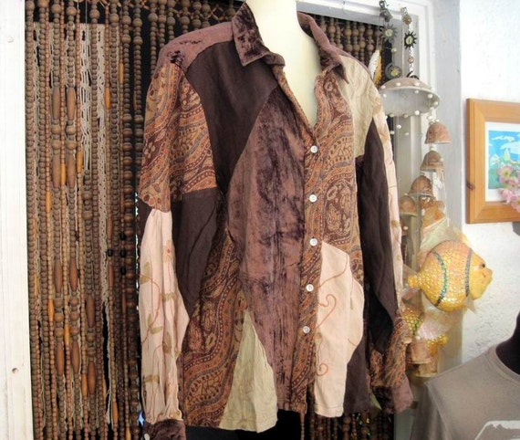 Boho Patchwork Earth-Shaded Button Down Shirt, Large