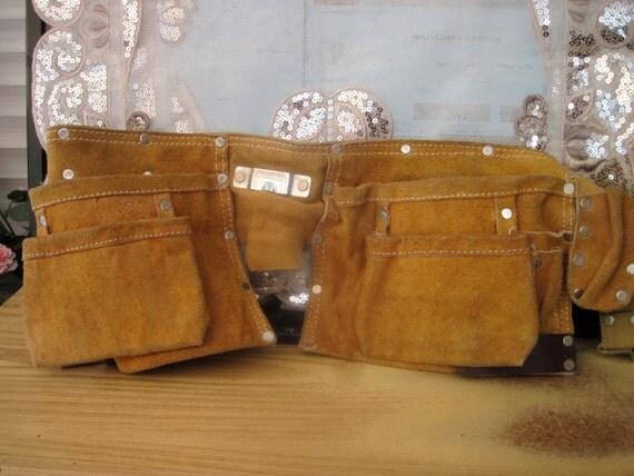 80's Handyman Utility Mustard Massive Suede & Leather Bag / Hip Belt Bag - TREASURY ITEM