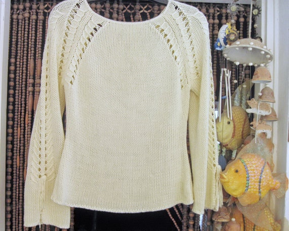 Fenestrated Hand-knitted Ivory Sweater, Medium