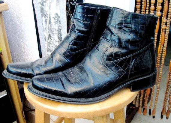 Bikers Black Zippered LEATHER Boots, Italian Made, Size 10 (European 44) - Chosen as TREASURY ITEM