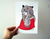 Dark Red Riding Hood Wolf Girl - Original Watercolour and Marker Illustration 5.5x8