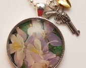 Lucky Charm Necklace: Flower with Gun and Heart