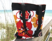 Bold Floral Large Tote Bag - Day Bag - Diaper Bag - Teacher Bag