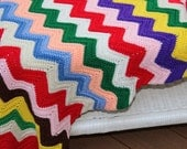 Vintage Crochet Afghan Blanket Throw Rainbow of Colors