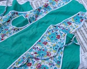 Vintage Childs Apron from the 1940s Sweet Floral Pattern Green, White, yellow for Kitchen wear or Play