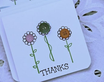 Vintage Button Note Cards set of 5 Thanks