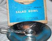 "Vintage Large West Bend 14""  Leather Grained Embossed Grape-Leaf Aluminum Salad Bowl"
