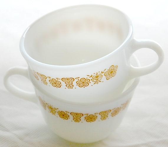 """Pyrex -Tea Cup Set - Milk Glass """"Butterfly Gold"""" Design"""