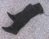 Vintage 80's Black Suede Over The Knee OTK Flat Boots 6.5