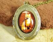 SALE Fox Locket Necklace - Red Fox Jewelry, Bronze Photo Locket