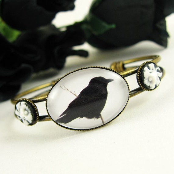 Gothic Crow Cuff Bracelet - Ravens and Crows Jewelry - Last One