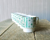 vintage set of 6 daisy and teal striped patterned coffee cups, circa 1960/70s