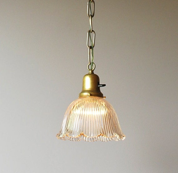 Small single brass pendant light with holophane shade, circa 1900