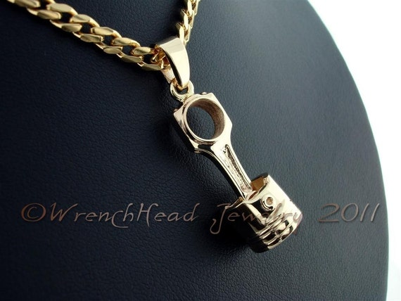 14KT Gold Turbo/Blower Piston and Rod Pendant (Large)