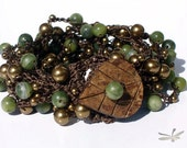 """Bohemian Crochet Bracelet, cuff, Serpentine and brass pearl beads, 7"""", """"Deep in The Forest"""""""