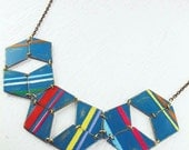 Geometric statement necklace in Circus Stripes