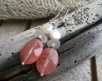 English Sea Glass Earrings - Clear Glass / Watermelon Quartz / White Coin Pearls