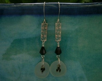 English Sea Glass Earrings - Seafoam Glass / Reclaimed Jet Czech Crystals / Reclaimed Art Deco Silver Filigree Elements