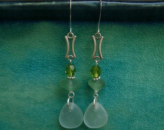 English Sea Glass Earrings - Seafoam & Turquoise Glass / Lime Czech Crystals / Reclaimed Vintage 925 Silver Elements
