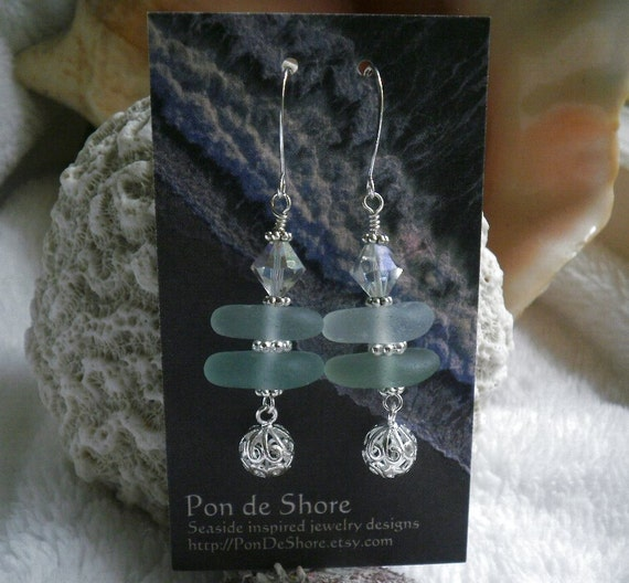 Stacked Sea Glass Earrings - Pale Seafoam, Turquoise & Aqua Glass / AB Czech Crystals / Silver Filigree Balls