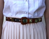Vintage Leather Green/Blue/ Pink/Black/Cream/Orange Multi Colored Woven Fabric Belt