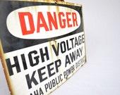 Vintage High Voltage Porcelain Sign