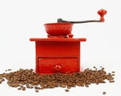 Vintage Bright Red Hand Painted Coffee Grinder
