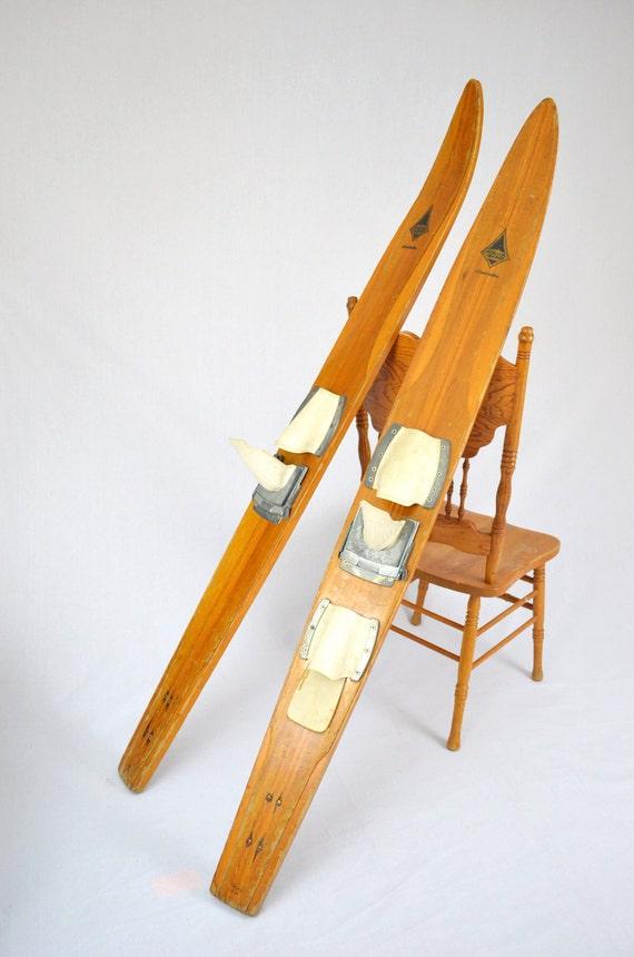 Vintage Wooden Water Skis 25