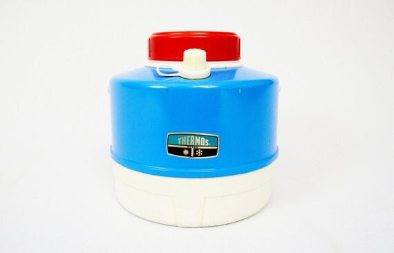 Vintage Blue Metal Thermos Brand Picnic Jug Cooler