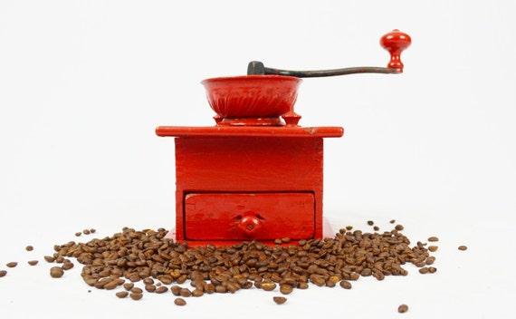 Vintage Bright Red Hand Painted Coffee Grinder
