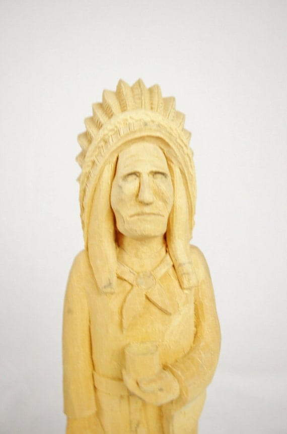 Hand Carved Wooden Indian - Unfinished