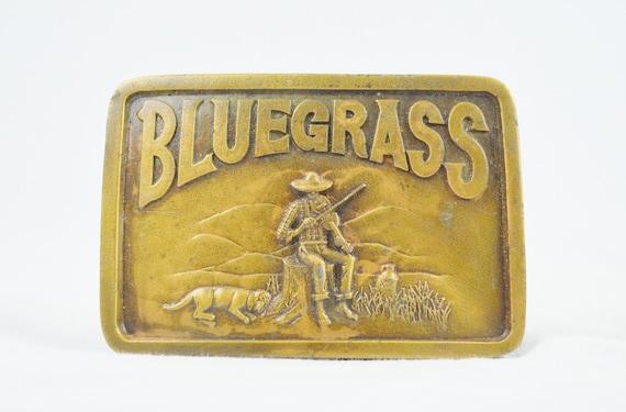 Vintage Brass Bluegrass Belt Buckle - Indiana Metal Craft