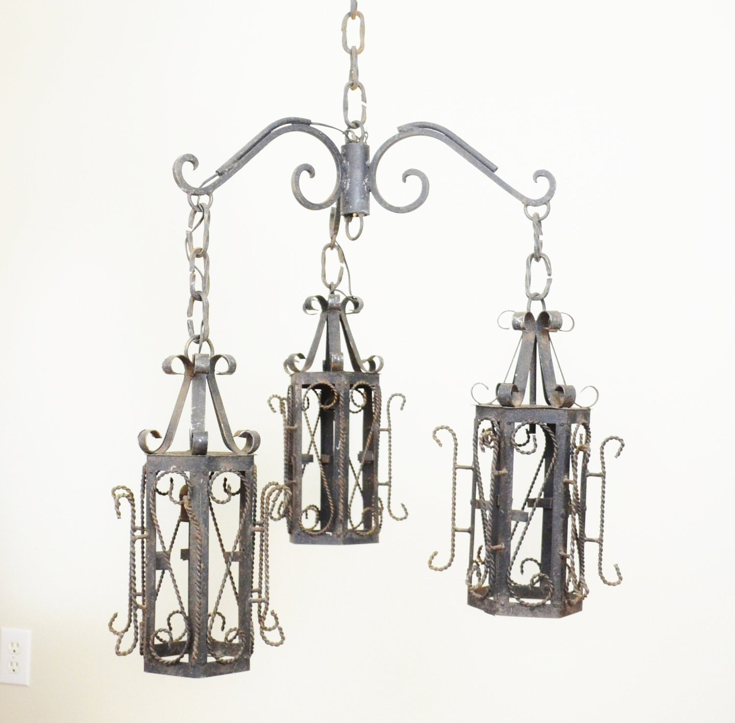 Wrought iron lantern pendant chandelier by luccabalesvintage - Light fixtures chandeliers ...