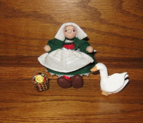 Miniature Becassine Doll, Basket, Goose, & Stand set for Bleuette Doll, Handmade Fimo Clay, Felt clothes.