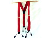 Red Suspenders / vintage Red & Black Button Tab Suspenders
