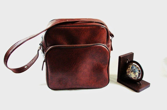 vintage  70s Small Brown Carry-On Bag Traveler Luggage Tote