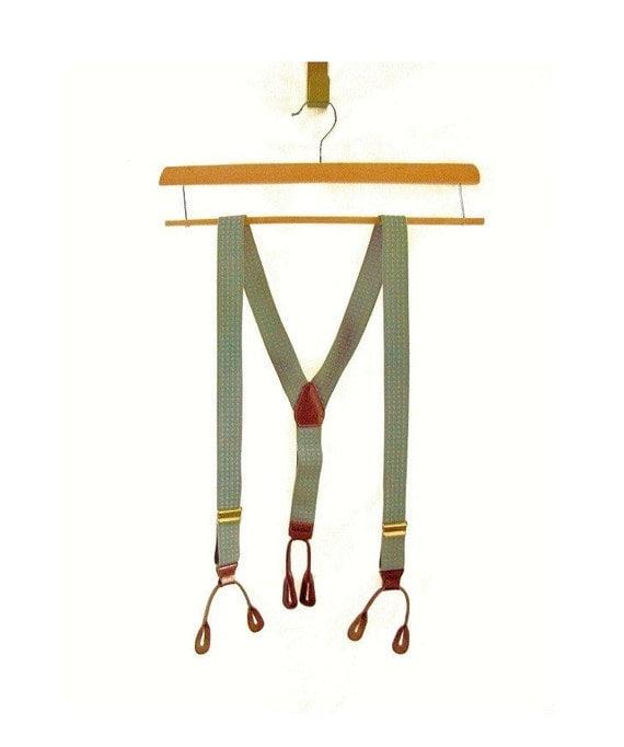 R E S E R V E D .. Wallstreet Grey .. vintage Elastic Leather Button Tab Suspenders