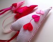 Favour Hearts Decoration - Set of 3 - Flying Hearts - Ornaments/favors/decor