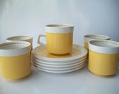 "Cups and Saucers Mikasa  Bright Yellow ""Light and Lively"" (Set of 5)"